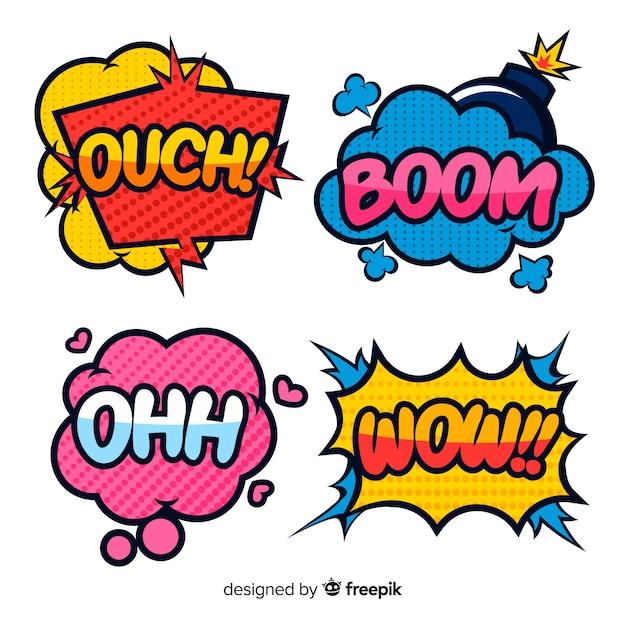 Coloridas burbujas de discurso de diseño cómico vector gratuito