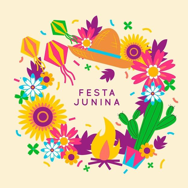 Coloridas flores y cactus diseño plano festa junina vector gratuito