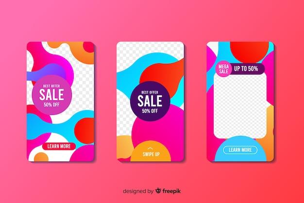 Coloridas historias de instagram de venta abstracta con foto vector gratuito