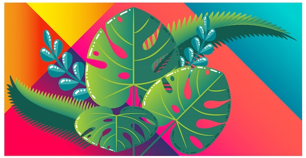 Coloridas hojas tropicales sobre fondo vibrante. Vector Premium