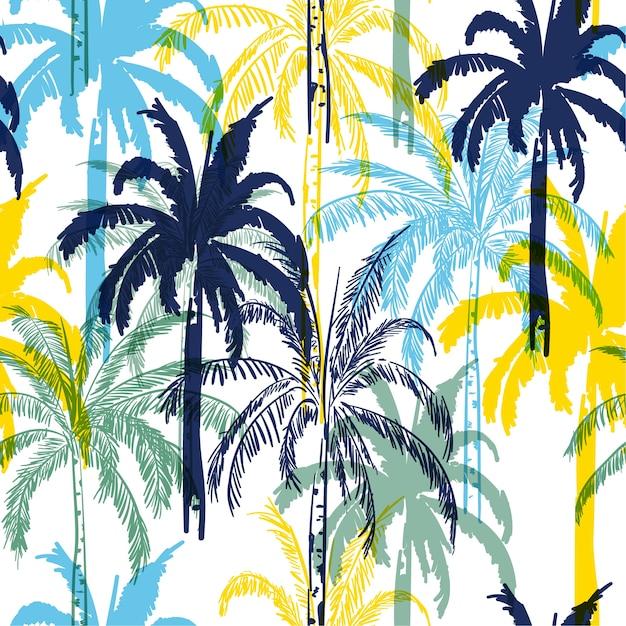 Coloridas palmeras de verano en el fondo del bosque blanco Vector Premium