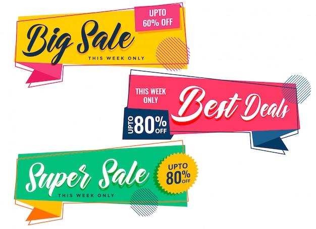 Coloridas pancartas de venta en estilo memphis vector gratuito