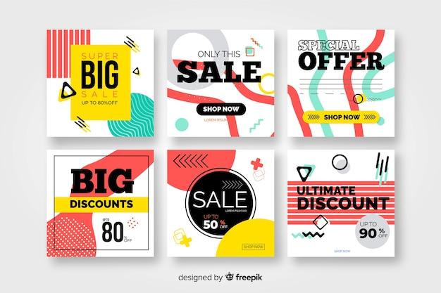 Coloridas pancartas de ventas modernas para redes sociales vector gratuito