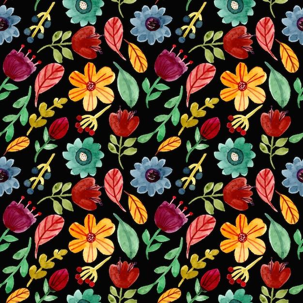 Colorido acuarela floral de patrones sin fisuras Vector Premium