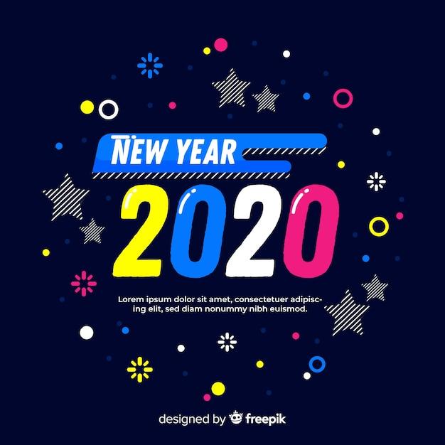 Colorido año nuevo 2020 en diseño plano vector gratuito