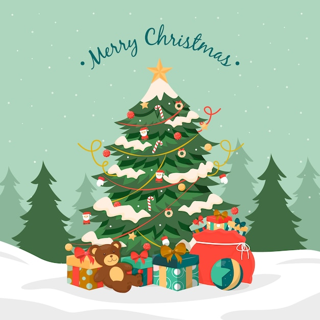 Colorido árbol de navidad vintage vector gratuito