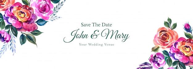 Colorido banner de boda floral en estilo acuarela vector gratuito