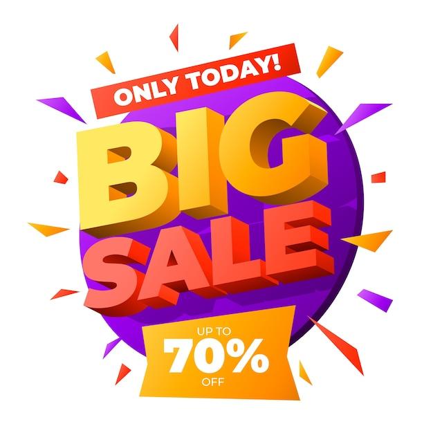 Colorido banner de ventas 3d vector gratuito