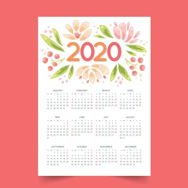 Colorido calendario anual 2020 vector gratuito
