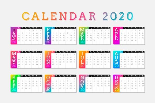 Colorido calendario calendario 2020 vector gratuito