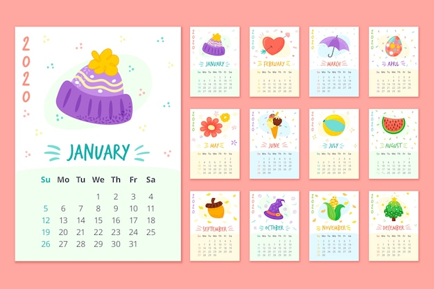 Colorido calendario mensual Vector Premium