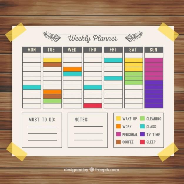 Colorido Calendario Planificador Semanal Descargar