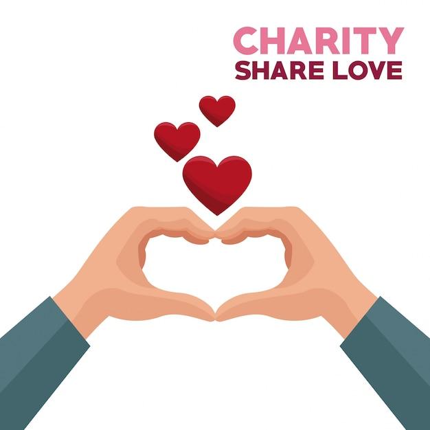 Colorido Caridad Manos Compartir Amor Formando Un Corazón Con
