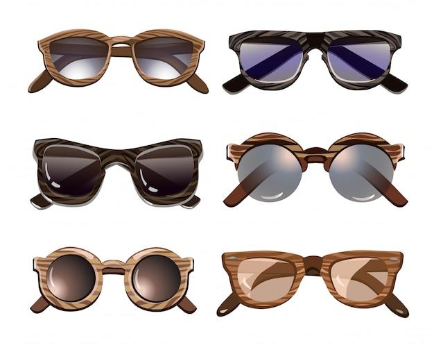 Colorido conjunto de gafas de sol hipster de moda vector gratuito