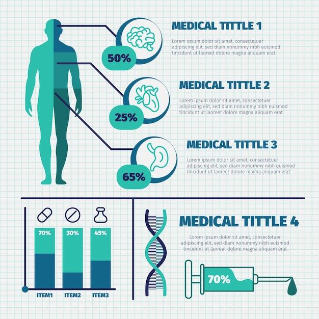 Colorido conjunto de infografía médica vector gratuito