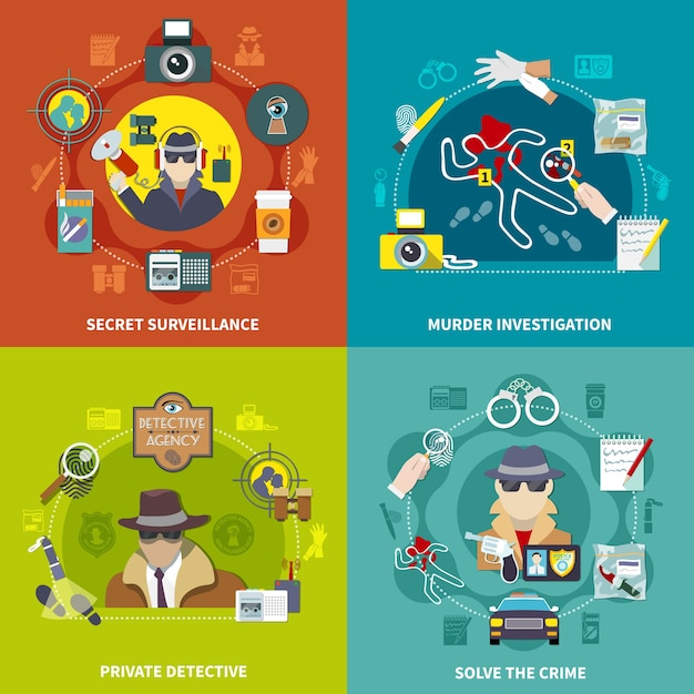 Colorido conjunto plano del concepto de detective de ilustración 2x2 con resolver el crimen detective privado vigilancia secreta e investigación de asesinato vector gratuito