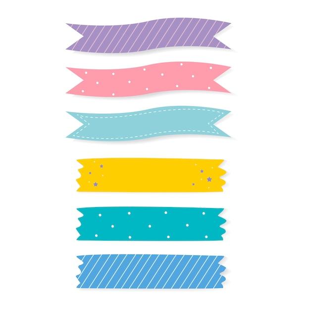 Colorido conjunto de vectores de cinta adhesiva estampada vector gratuito