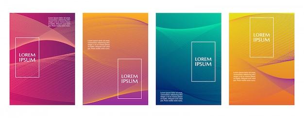 Colorido degradado mínimo geométrico línea patrón fondo plantilla de portada Vector Premium