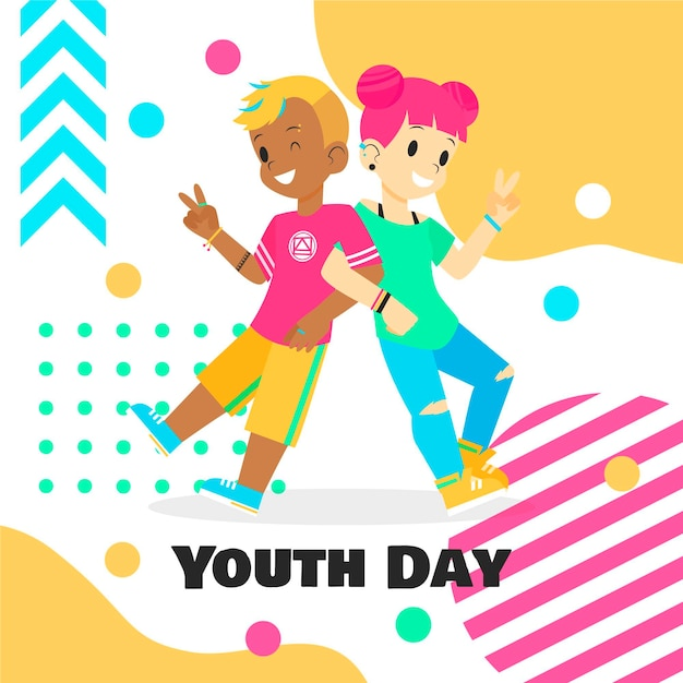 Colorido día de la juventud vector gratuito