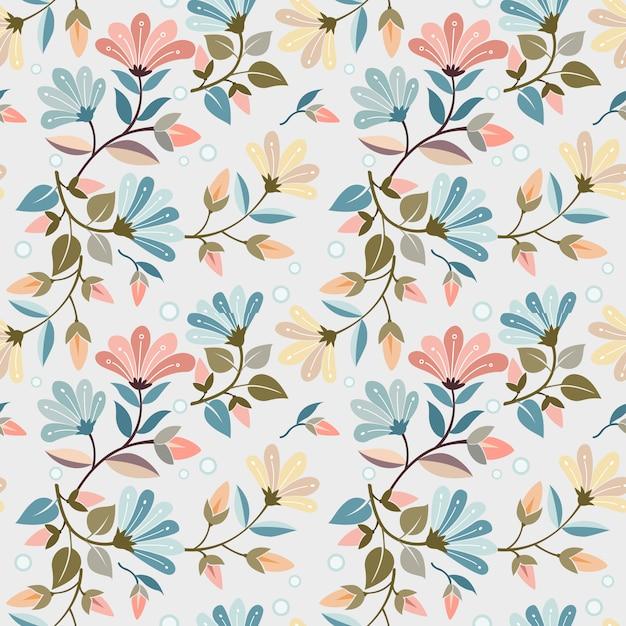 Colorido dibujado a mano flores de patrones sin fisuras diseño vectorial se puede usar para papel tapiz textil de tela. Vector Premium