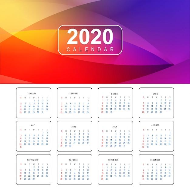 Colorido diseño de calendario año nuevo 2020 vector gratuito