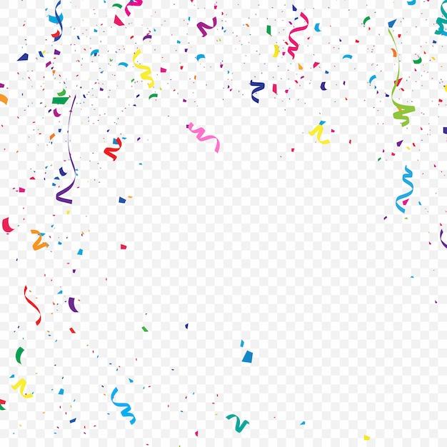 El colorido fondo de confeti que está cayendo ilustración vectorial Vector Premium