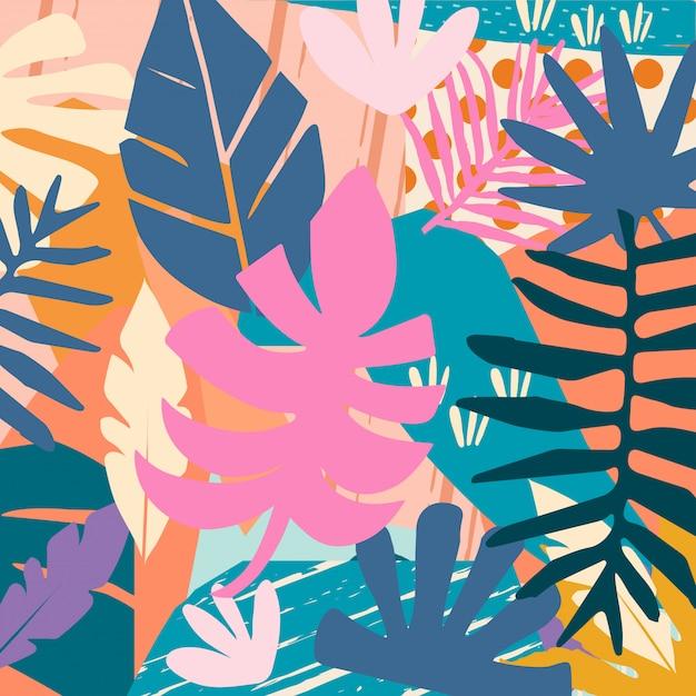 Colorido fondo de hojas de selva tropical Vector Premium