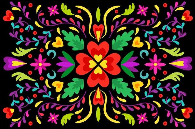 Colorido fondo mexicano en diseño plano vector gratuito