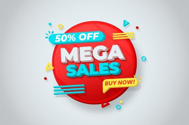 Colorido fondo de pantalla de ventas 3d vector gratuito
