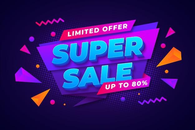 Colorido fondo de ventas 3d vector gratuito