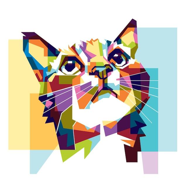 Colorido gato esperanza Vector Premium