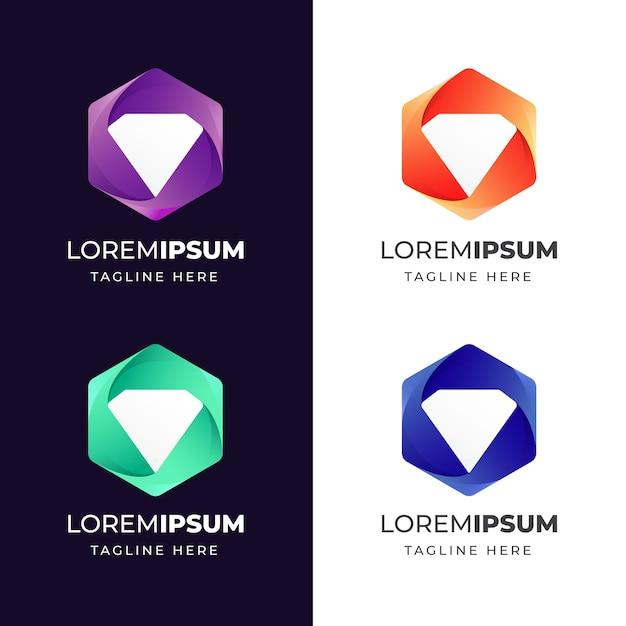 Colorido geométrico con plantilla de diseño de logotipo de icono de diamante Vector Premium