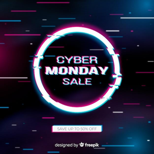 Colorido glitch cyber lunes vector gratuito