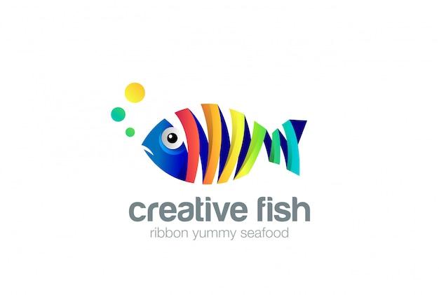 Colorido icono de logotipo abstracto de pescado de cinta. vector gratuito
