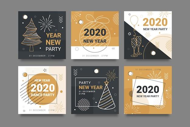 Colorido instagram post 2020 año nuevo con bocetos de árboles vector gratuito