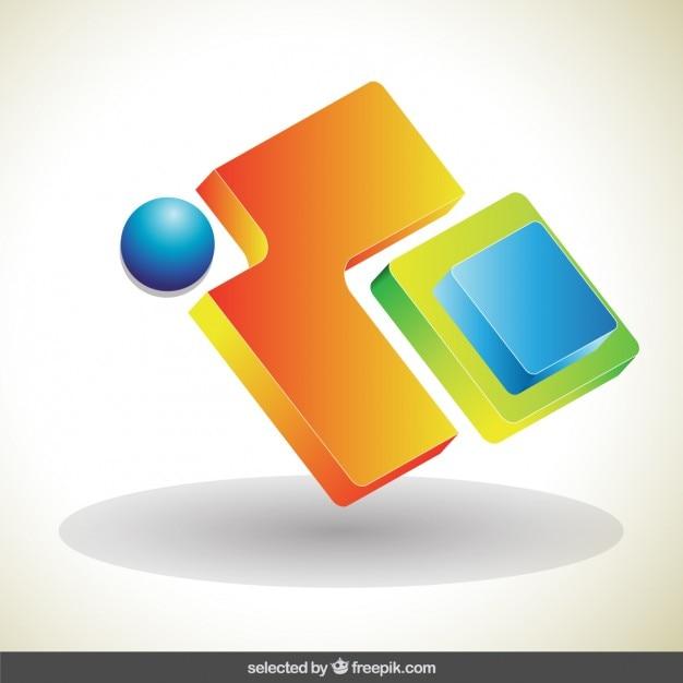 colorido logo 3d abstracto descargar vectores gratis