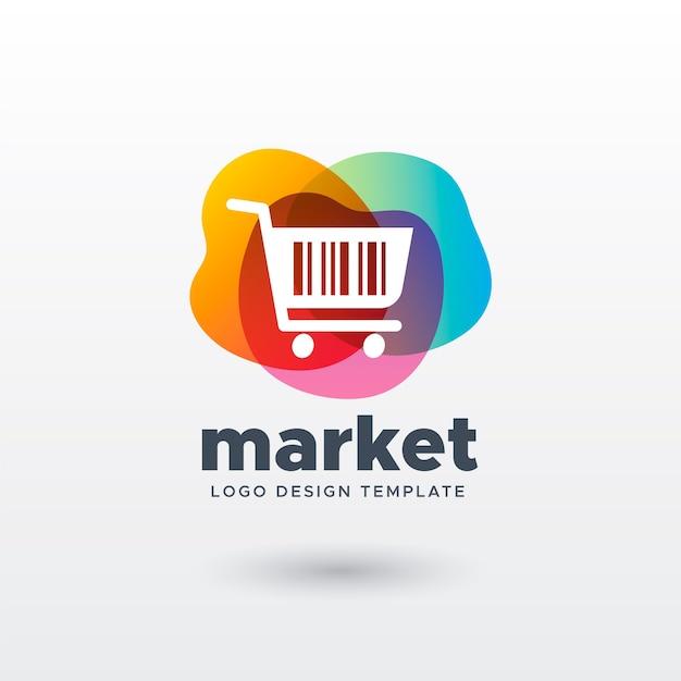 Colorido logo de mercado con gradiente vector gratuito