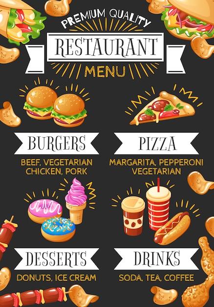 Colorido menú de restaurante de comida rápida con hamburguesas, postres de pizza y bebidas en la ilustración de fondo negro vector gratuito