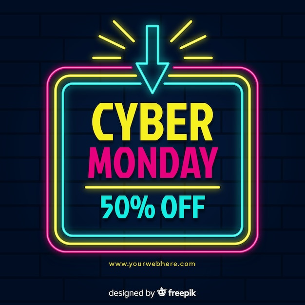Colorido neón cyber lunes vector gratuito
