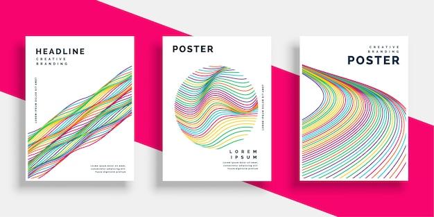 Colorido ondulado líneas cubierta volante cartel diseños establecidos vector gratuito