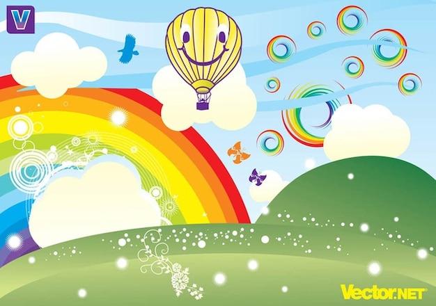 Colorido paisaje con el arco iris descargar vectores gratis for Drawing websites no download
