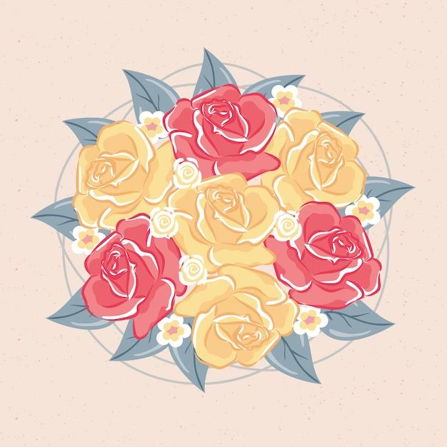 Colorido ramo floral vintage vector gratuito