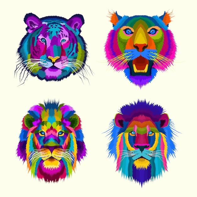 Colorido tigre y el rey león Vector Premium