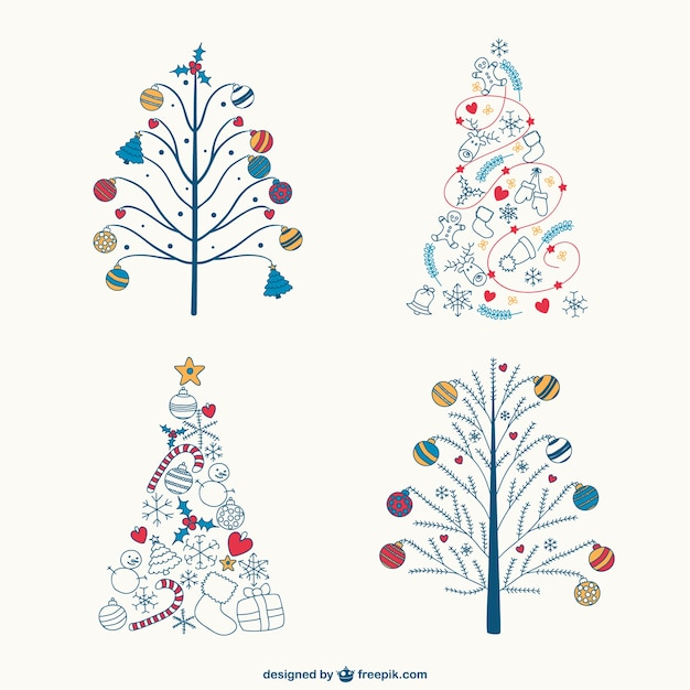 coloridos rboles de navidad dibujos vector gratis - Dibujos Arboles De Navidad