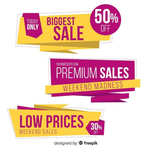 Coloridos banners de ventas estilo origami vector gratuito