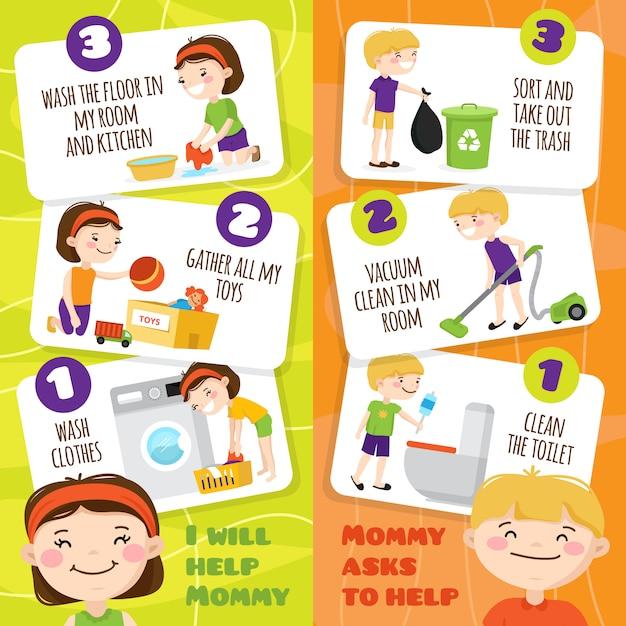 Coloridos banners verticales con niños sonrientes que limpian habitaciones y ayudan a su madre en la casa vector gratuito