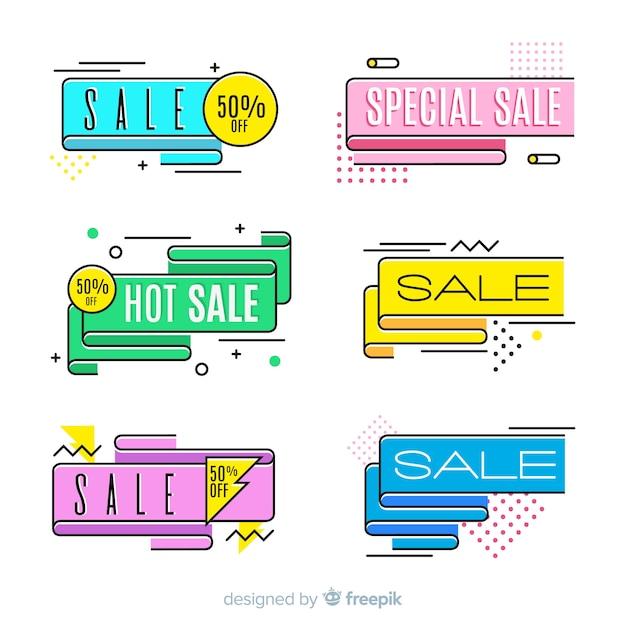 Coloridos carteles de venta de memphis vector gratuito
