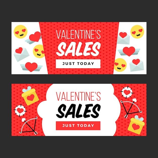 Coloridos carteles de venta de san valentín vector gratuito