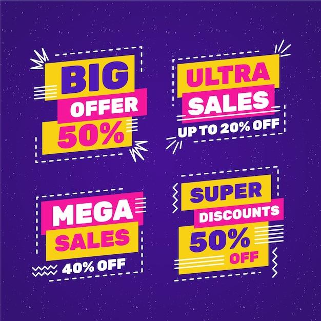 Coloridos carteles de ventas con colección de marcos de líneas discontinuas vector gratuito