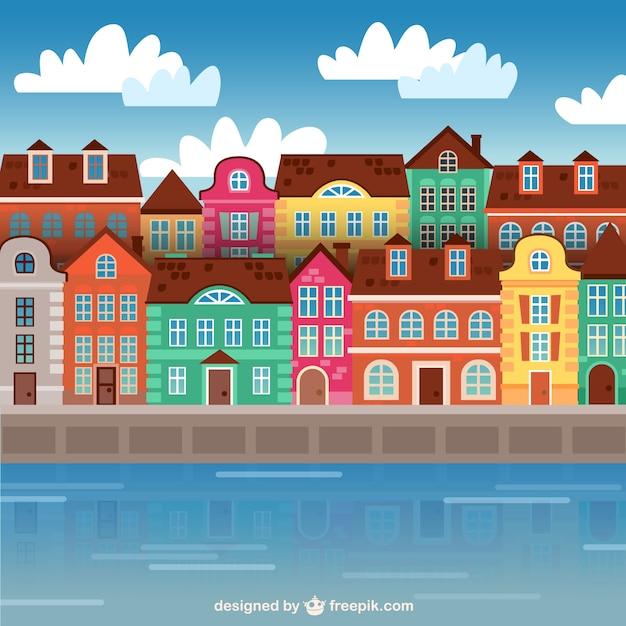 Coloridos edificios de la ciudad vector gratuito